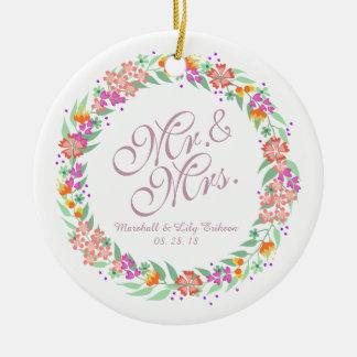 Ornement de M. et de Mme Elegant Floral Wedding |