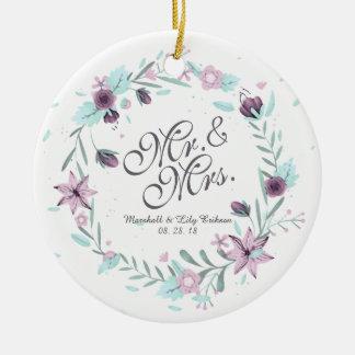 Ornement de M. et de Mme Floral Watercolor Wedding
