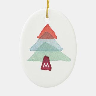 Ornement de monogramme d'arbre de Noël d'aquarelle