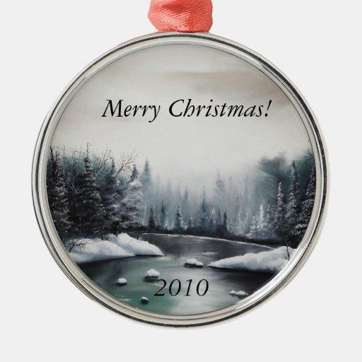 Ornement de Noël avec la peinture de scène d'hiver