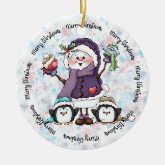 Ornement de Noël d'amis de bonhomme de neige