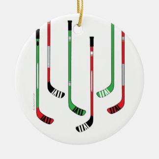 Ornement de Noël de bâtons de hockey
