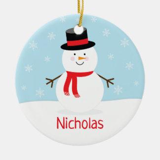 Ornement de Noël de bonhomme de neige de vacances