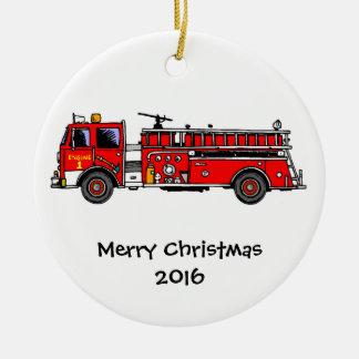 Ornement de Noël de camion de pompiers