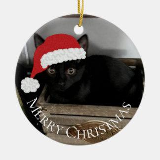 Ornement de Noël de chaton de Père Noël