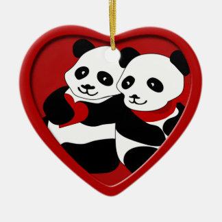 Ornement de Noël de couples d amour de panda