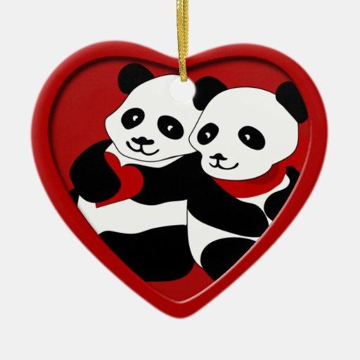 Ornement de Noël de couples d'amour de panda
