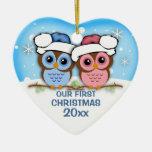 Ornement de Noël de couples de hibou de Cutie Ornement Cœur En Céramique