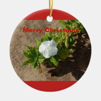 Ornement de Noël de fleur blanche