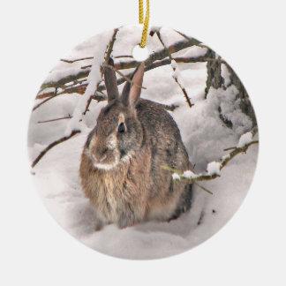 Ornement de Noël de lapin de neige