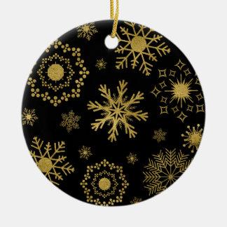 Ornement de Noël de motif de flocon de neige d'or