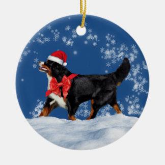 Ornement de Noël de Père Noël de chien de montagne