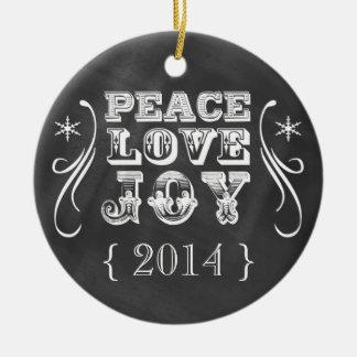 Ornement de Noël de photo de joie d'amour de paix