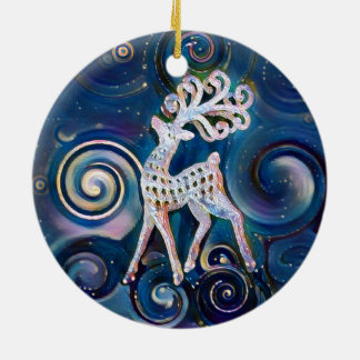 Ornement de Noël de renne de nuit étoilée