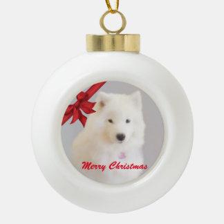 Ornement de Noël de Samoyed ; Boule en céramique