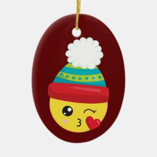 Ornement de Noël d'Emoji de casquette d'hiver