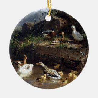 Ornement de Noël d'étang d'oiseaux de caneton de