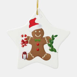 Ornement de Noël d'étoile, bonhomme en pain