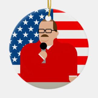 Ornement de Noël d'os de Ken : Drapeau américain