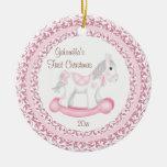Ornement de Noël du bébé de fille de cheval de bas