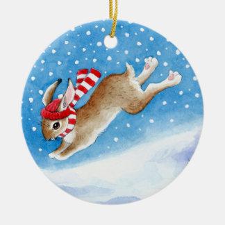 Ornement de Noël et d'hiver de lapin de neige
