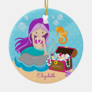 Ornement de Noël personnalisé par sirène mignonne