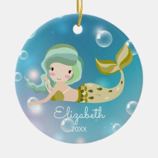Ornement de Noël personnalisé par sirène moderne