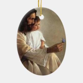 Ornement de papillon de Jésus et de bébé