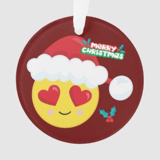 Ornement de Père Noël Emoji d'amour de Joyeux Noël