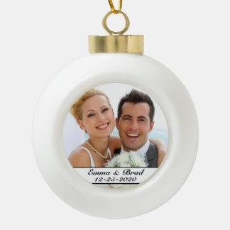 Ornement de photo de Noël de mariage ou