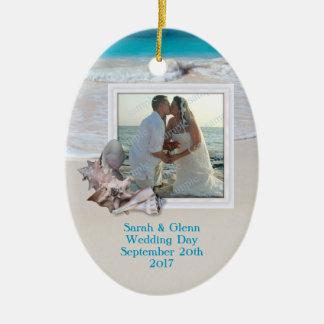 Ornement de photo de souvenir de mariage de plage