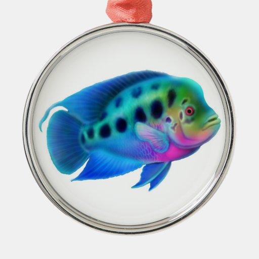 ornement de poissons d aquarium de cichlid de zazzle