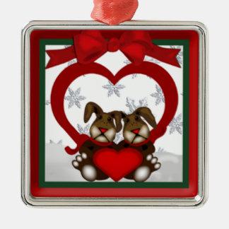 Ornement de prime de lapins d'amour de Noël
