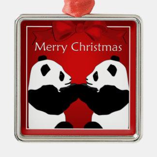 Ornement de prime de Noël d'amis de panda