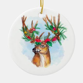 Ornement de renne de Noël d'aquarelle