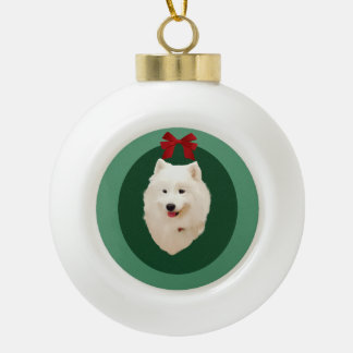 Ornement de vacances de Noël de Samoyed ; Non