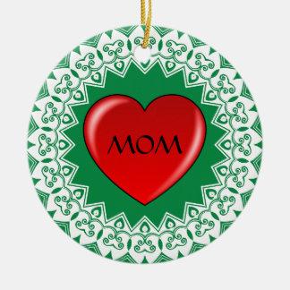 Ornement de vert de mandala de coeur de maman