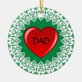 Ornement de vert de mandala de coeur de PAPA
