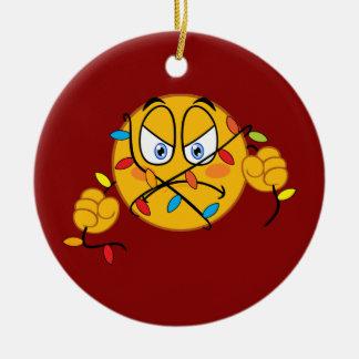 Ornement d'Emoji de lumières de Noël