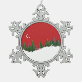 Ornement d'étain de scène en bois de Noël Ornement Flocon De Neige Pewter