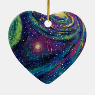 Ornement d'étoile de nuit de l'espace de coeur