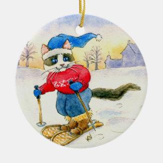 Ornement d'hiver de chat de raquette de Noël
