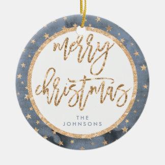 Ornement d'or de Joyeux Noël d'étoiles en