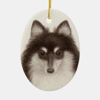 Ornement d'ovale de chien de berger de Shetland