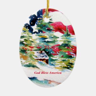 Ornement d'ovale de drapeau américain