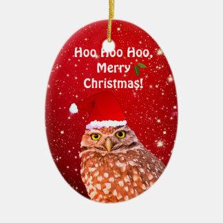 Ornement drôle de Noël de hibou avec l'année faite