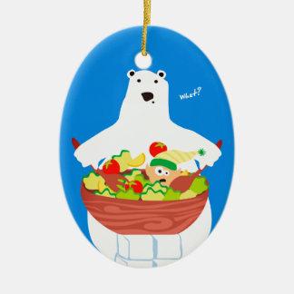 Ornement drôle de Noël de salade d'elfe d'ours