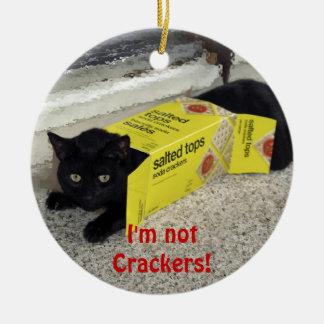 Ornement drôle de vacances de chat noir