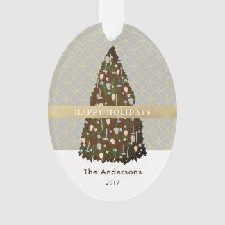 Ornement EDITABLE de photo d'arbre de Noël d'or de