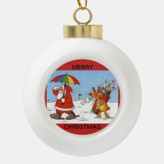 Ornement en céramique de boule avec Père Noël et